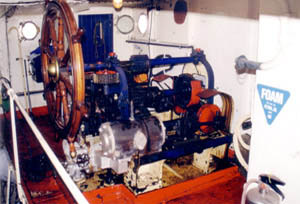 Donkin's Patent steering engine at the after end of the engineroom.  Photograph: Tony Millatt
